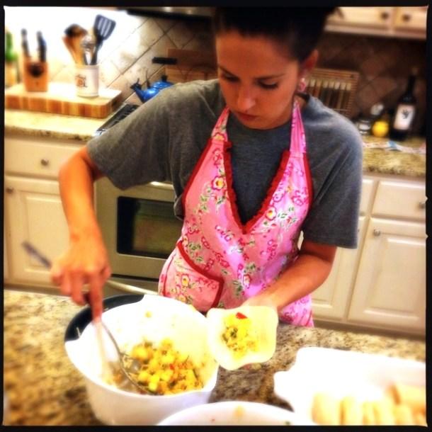 Filling enchiladas
