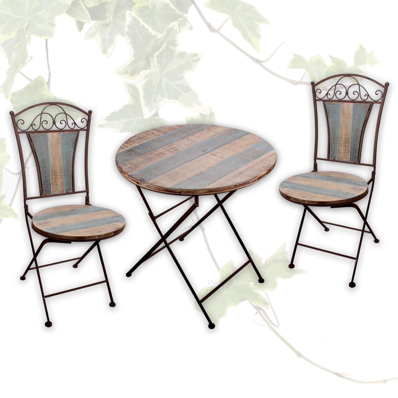 Tisch + 2 Stühle Bistrostuhl Balkonstuhl Garten ...