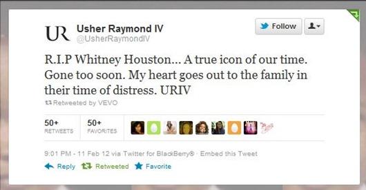 whitney Houston 1 mensaje Usher
