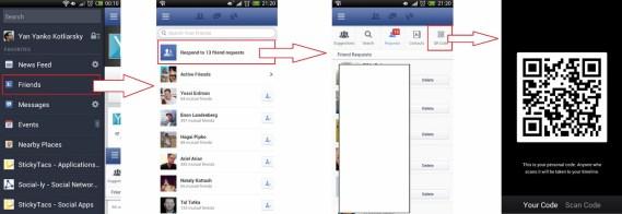 Códigos QR en aplicación Android de Facebook