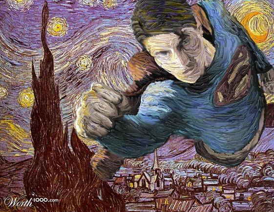 Pintura de Van Gogh versión con el hombre de acero
