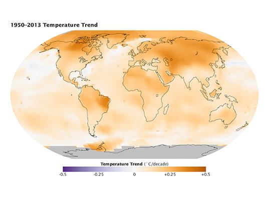 Calentamiento global 1950 al 2013 mapa tendencias