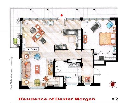 Planos de departamento de Dexter Morgan