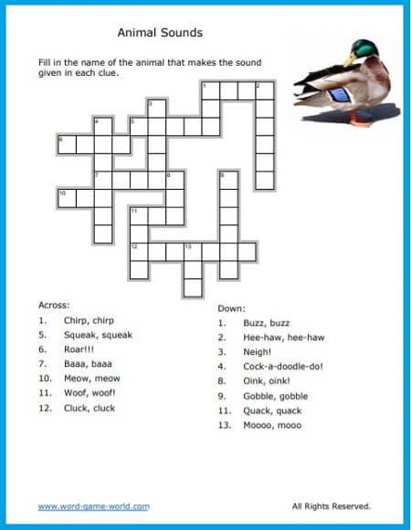 Fun Crossword Puzzle For Kids About Animals