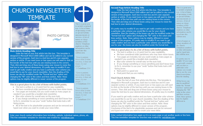 Landing pages convert at 23% on average, making it the highest converting type of signup element. Free Church Newsletter Templates Worddraw Com