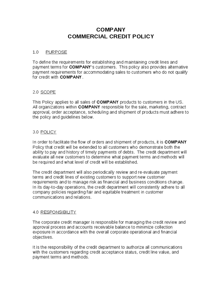 4 Credit Policy Templates Word Excel Templates