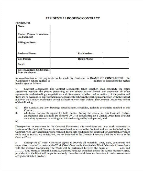 Project Contract Templates | 5 Roofing Contract Templates Word Excel Templates