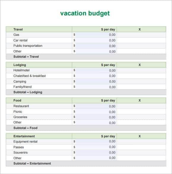 Sample Vacation Budget Archives - Word Excel Templates
