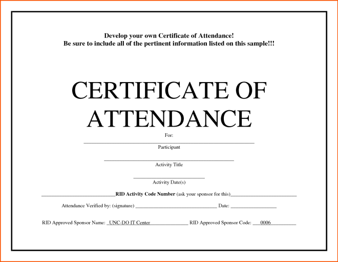 5 Certificate Of Attendance Templates Word Excel Templates