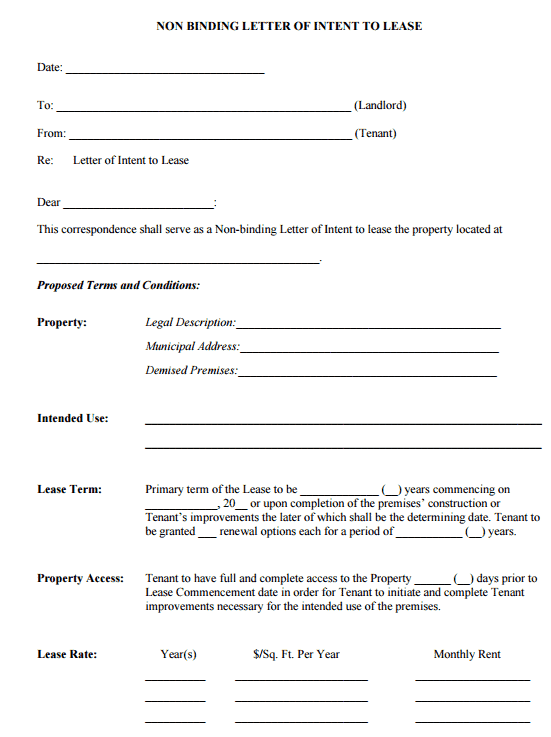 4 Letter Of Intent To Lease Templates
