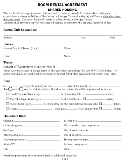 5 Room Lease Agreement Templates Word Excel Templates