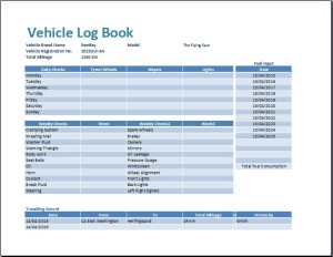 MS Excel Vehicle Log Book Template