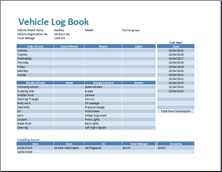 It has all the requested features, including columns for the date of service, work performed. Ms Excel Vehicle Log Book Template Word Excel Templates