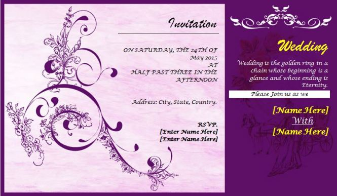 Marriage Invitation Card Format In English Pdf – Example of Wedding Invitation Cards