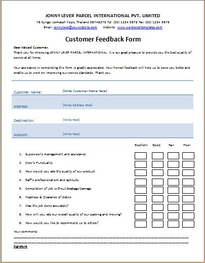 Gather info from your employees with a workplace questionnaire template in word to improve working conditions and employee retention. Ms Word Printable Customer Feedback Form Template Word Excel Templates