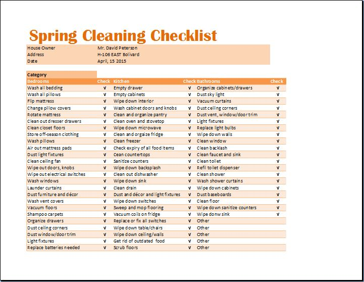 Such checklist templates help you to keep track of your cleaning project and ensure a systematic approach. Ms Excel Spring Cleaning Checklist Template Word Excel Templates