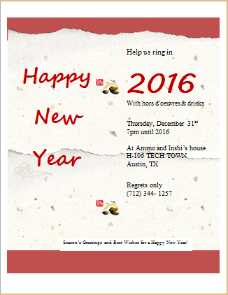 New Year Party Cards Invitation Merry Christmas And Happy New Year