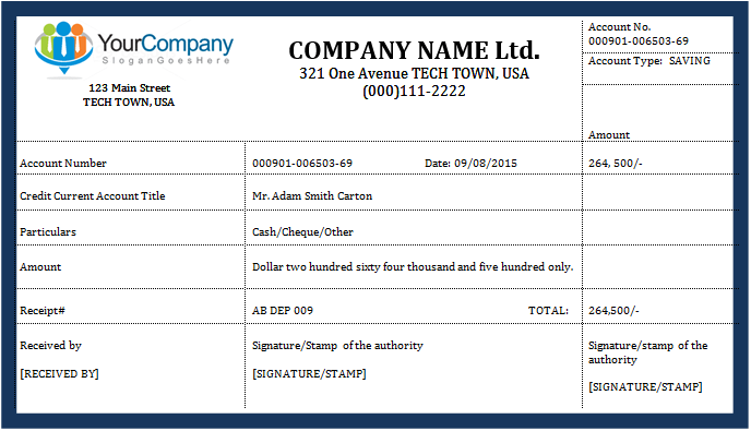 How to write a deposit receipt. Deposit Receipt Template For Ms Word Word Excel Templates