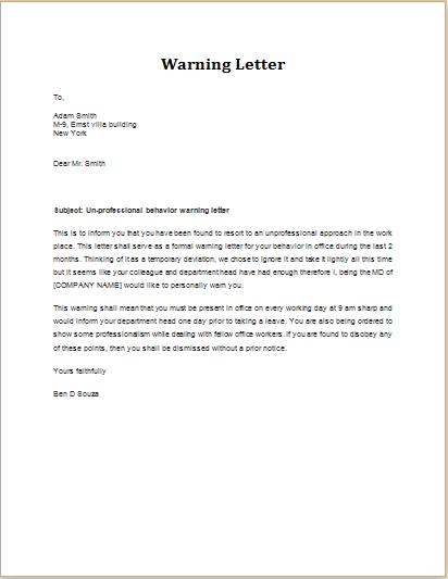 Warning Letter for Unprofessional Behavior | Word & Excel ...