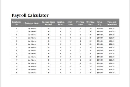 sample net pay calculator templates on payroll tax calculator
