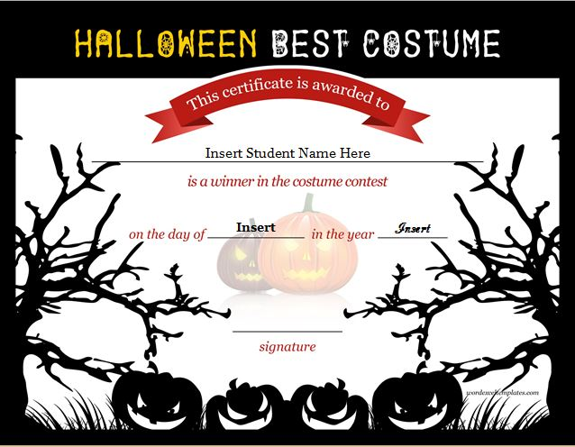 Halloween Certificate Template Hallowen