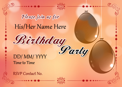 birthday party invitation cards for ms
