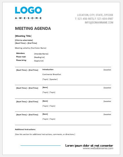 This is an accessible meeting agenda template with adjustable times for easy modification. Meeting Agenda Templates Ms Word Word Excel Templates