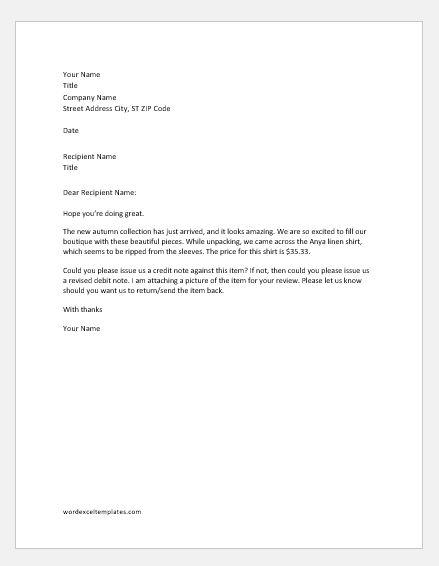 Debit Note Rejection Letter SAMPLES Word Amp Excel Templates