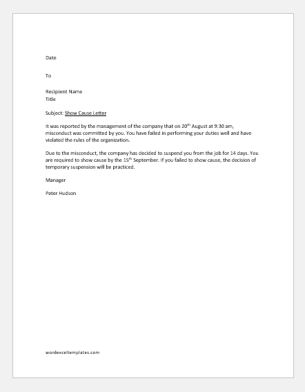 Show Cause Letters With Sample Examples Word Amp Excel