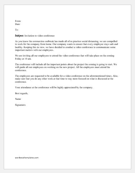 video conference invitation letter to