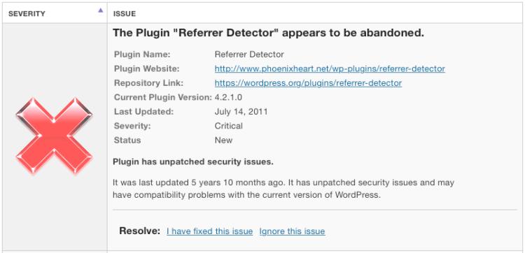 abandoned plugin alert