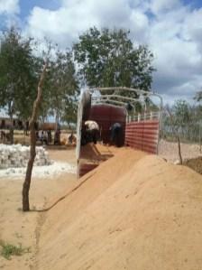 Sand being delivered