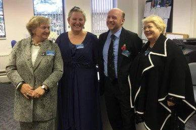 With fellow Trustees Maya Parker and Deirdre Boyd and Patron Liam Byrne: Nacoa office when His Royal Highness the Duke of Kent visited.
