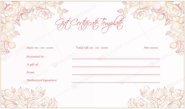 wedding gift certificate template