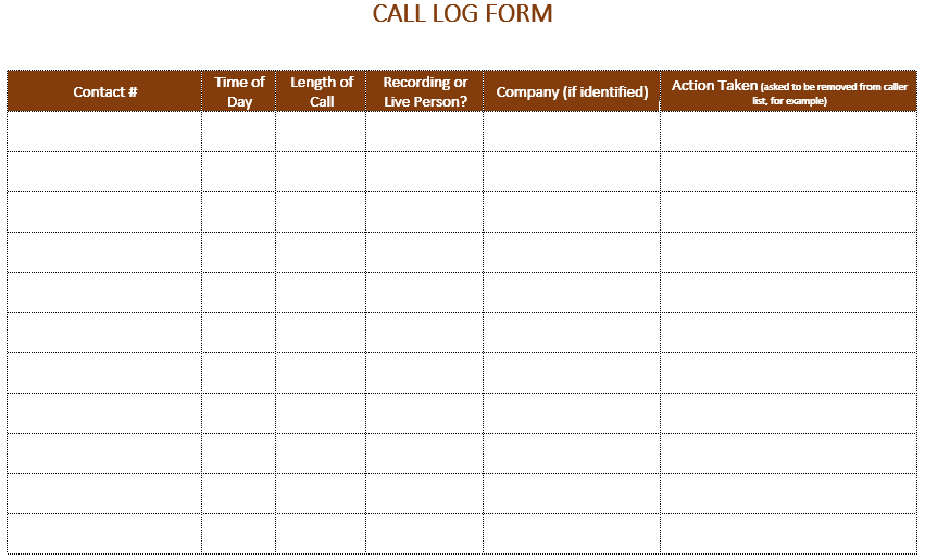 Call log Template| Phone Call Log Template – All Form Templates