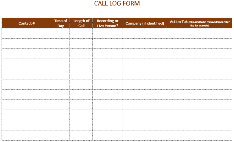 template for call log