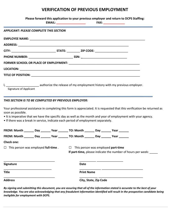 employment form template