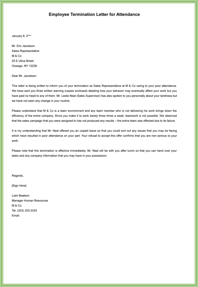 job termination letters