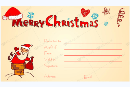 Free Certificate Templates Christmas Gift Certificate Template