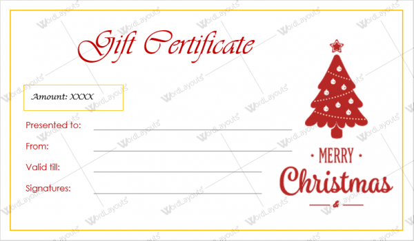 Template For A Christmas Gift Certificate Creativepoem