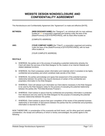 website design non disclosure agreement