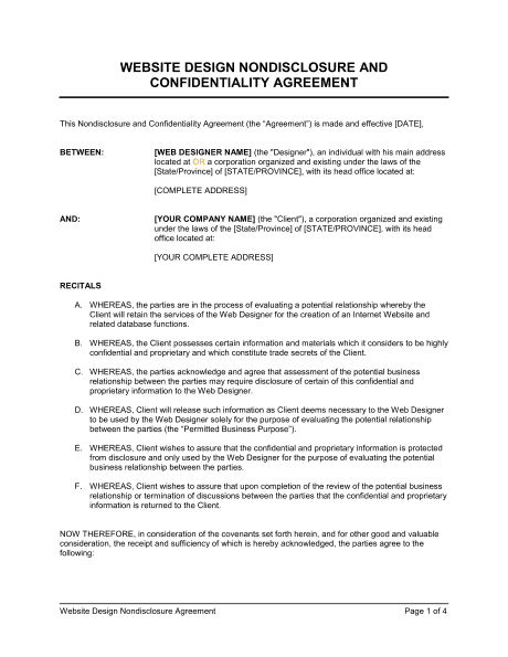 Non Disclosure Agreement Template 22  Nda Template Word