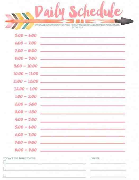 daily schedule template 55