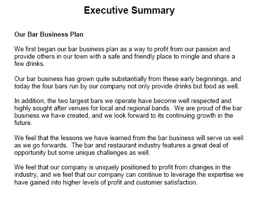 Sample executive summary business plan zrom sample executive summary business plan wajeb Image collections