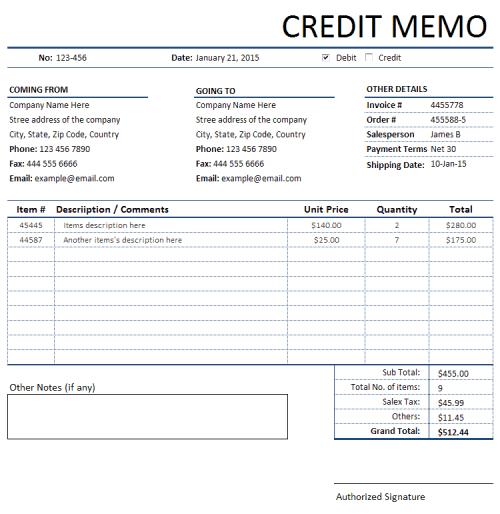 memo invoice template 44
