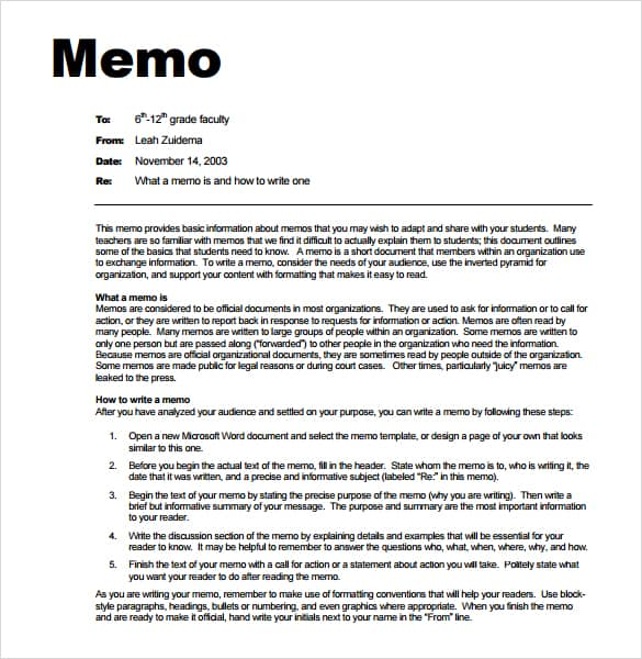 7 memo templates excel pdf formats for Microsoft office memo templates free