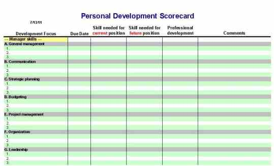 how to make a personal development plan template
