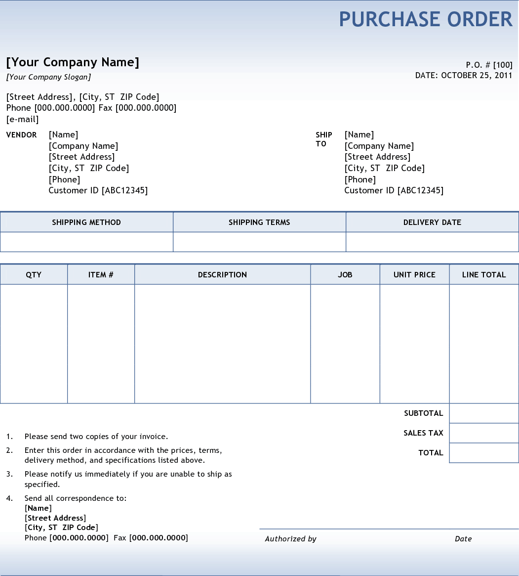 Purchase Order Template 22  Purchase Order Sample Format