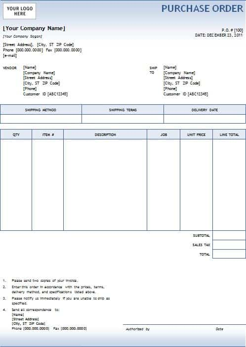 sample of purchase order in word format