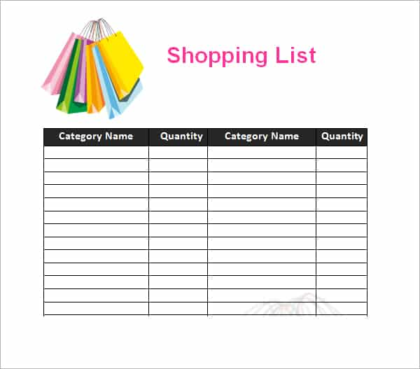 Shopping List Template 55  Free Shopping List Template